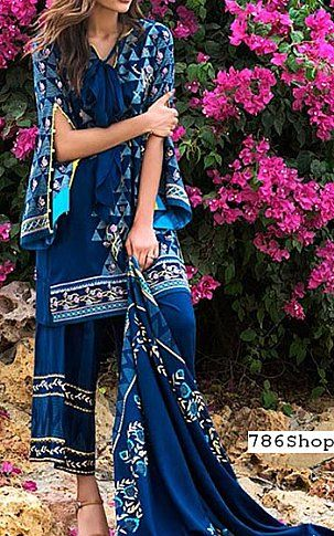 Blue Linen Suit | Buy LSM Pakistani Dresses and Clothing online in USA, UK