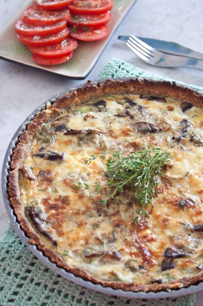 LCHF tærte med champignon og porrer