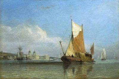 Hay barge off Greenwich Poster Art Print by Edward William Cooke