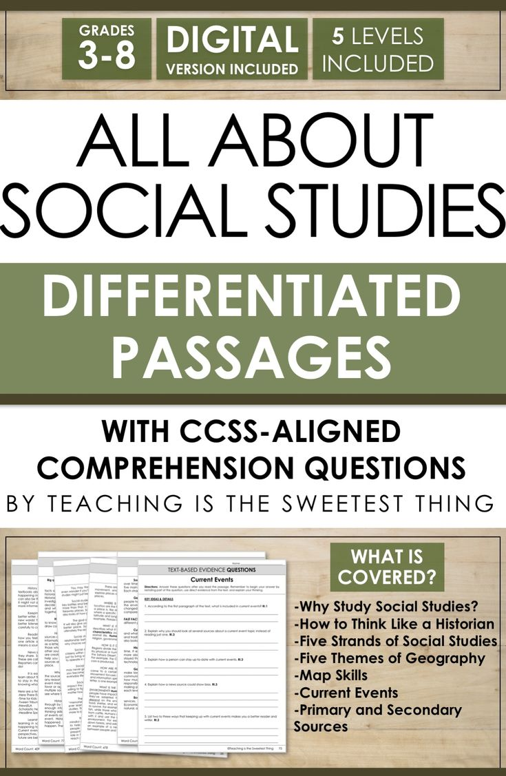 Differentiating instruction, integrating Social Studies into reading, AND addressing standards like Common Core is daunting. But this passage set knocks out all three at once! Plus it includes comprehension questions and could easily go with other activities or projects you've already planned! A must-have resource for teaching about All About Social Studies.