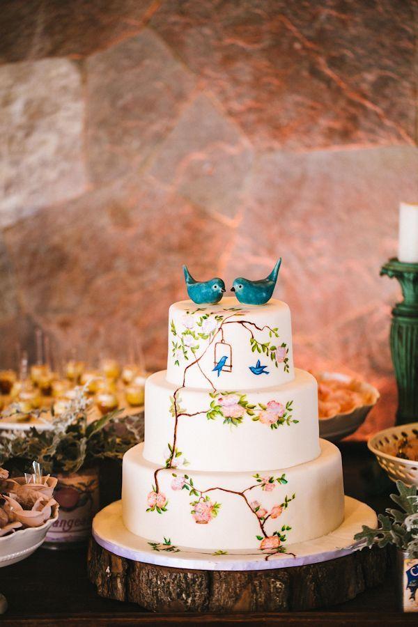 Bolo de casamento com passarinhos - Colher de Chá Noivas