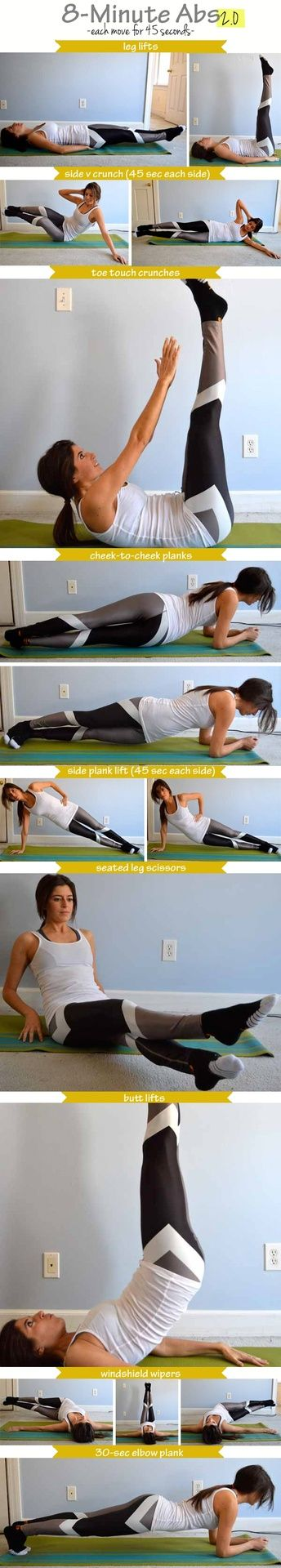 8-Minute Abs 2.0  like that she demonstrates both parts of the move. love that pants like those exist.