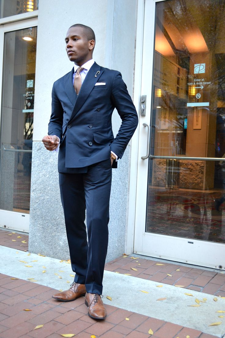 Sharp navy suit, brown shoes