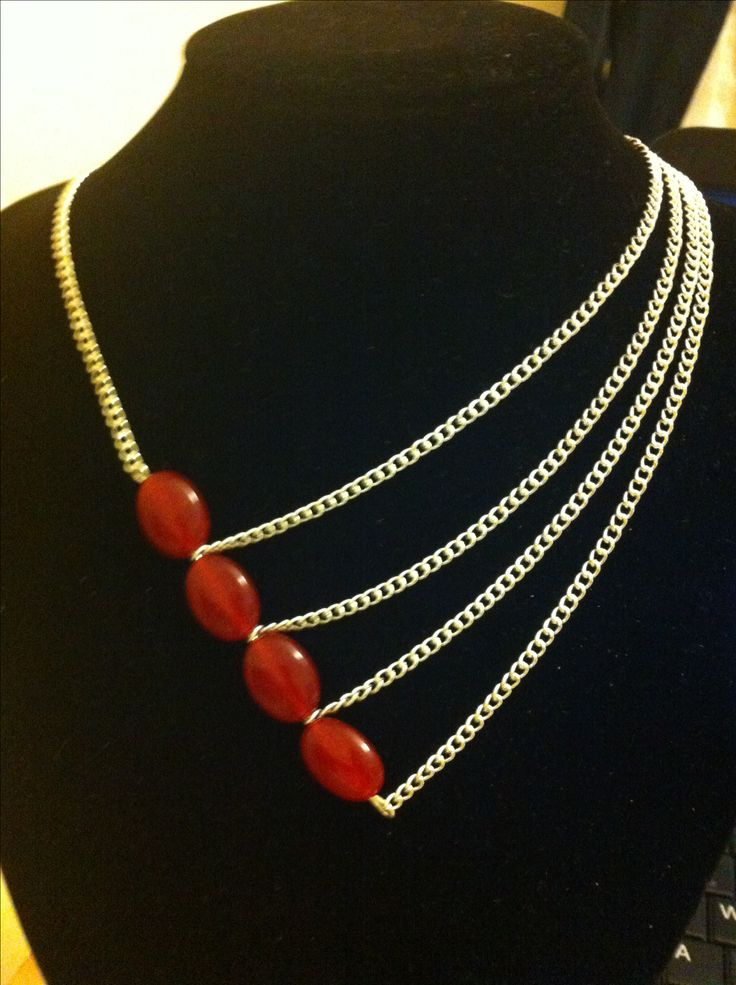Red Jade asymmetrical necklace