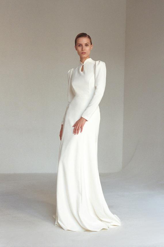 Long sleeve wedding dress key hole back puff sleeve Modest