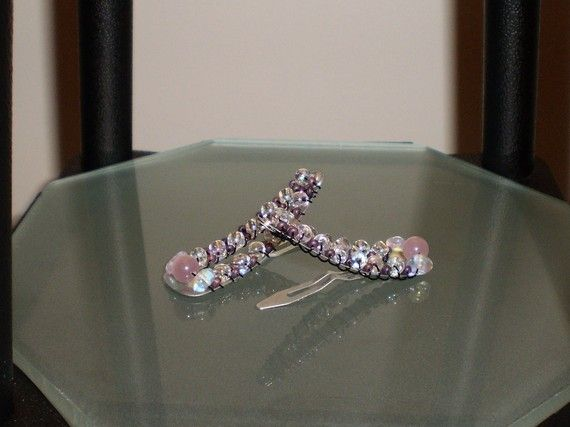 Mauve and Clear Large Hairclips by BlueJewelsCreations on Etsy, $7.00
