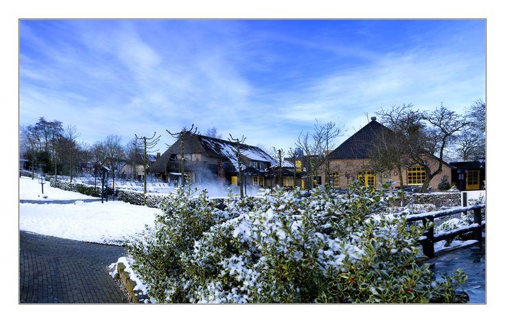 De tuin van de Zwaluwhoeve helemaal wit van de sneeuw met een prachtige hemel erboven.