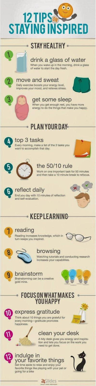 Young, Polished & Professional: Infographic: 12 Tips on Staying Inspired career tips #career