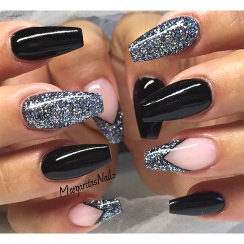 Black acrylic Coffin Nails