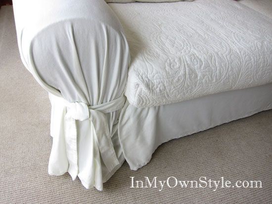 How to Cover a Sofa with a Tie Arm Throw Over Slipcover | In My Own Style
