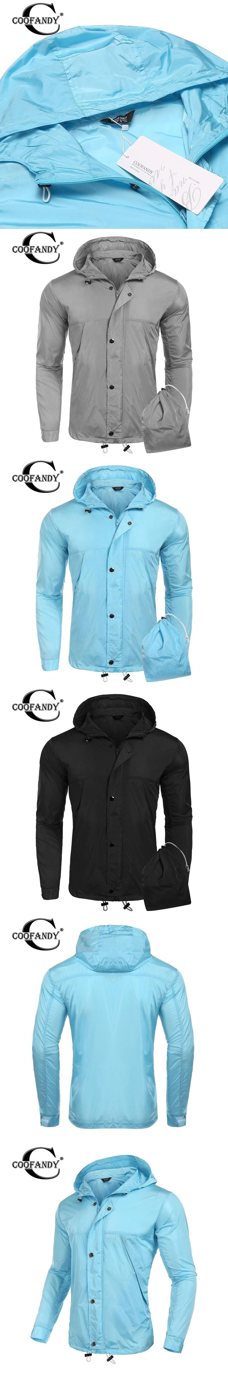 COOFANDY New Arrivals Fashionable Jackets for Men Hooded Long Sleeve Zip-up Lightweight Rain Jacket Raincoat