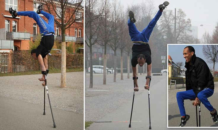 Take that Usain: Disabled man sets new world record for 100m sprint... running on his hands in CRUTCHES   Tameru Zegeye completed incredible feat in 56 seconds in a German town He balanced on crutches in handstand, before 'running' the race on hands Mr Zegeye forced to use crutches after being born with two deformed feet Circus performer said he was 'delighted' to have set a new world record Added that he was 'talented' like his hero, Jamaican sprinter Usain Bolt