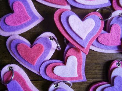 coeurs en feutrine pour porte-clef