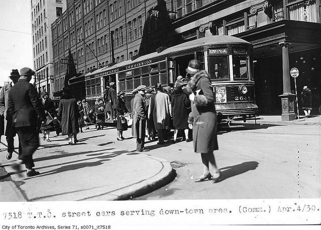 Streetcars serving downtown    Photographer: Alfred Pearson  April 4, 1930