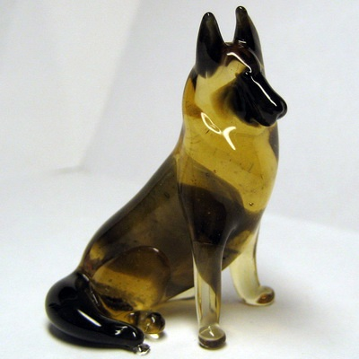 Figurines - Russian Handicrafts - German shepherd hand blown glass figurine