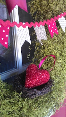 Valentines Wreath (flags for bunting are made from old book pages, scrap fabrics , and burlap)