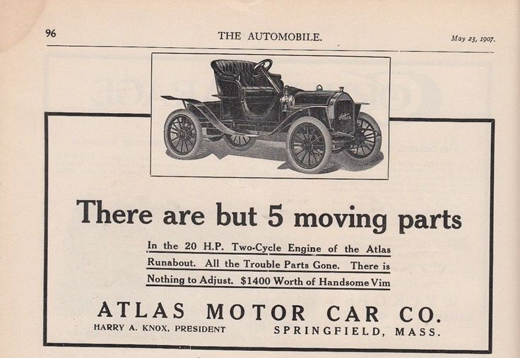 1907 Atlas Motor Car Co Springfield MA Ad: Atlas Runabout 20-HP 2-Cyle Engine