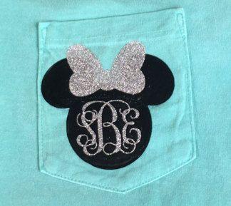Minnie Mouse Glitter Monogram Comfort Colors T-Shirt // Monogram Disney Shirt // Personalized Disney Vacation Glitter Shirts