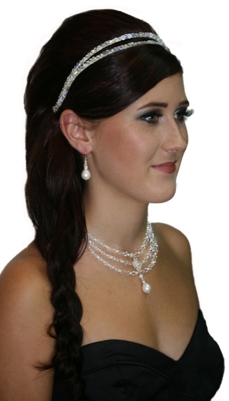 Handmade double strand crystal headband hair piece, finished in swarovski crystals.  www.redki.com.au Hair by Ultimate Bridal, Hair piece by Redki Wearable Art.