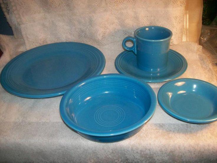 5 Piece Fiesta Fiestaware Set Blue Dinner Plate Salad/Dessert Plate 2 Bowls Cup #FiestaFiestaware