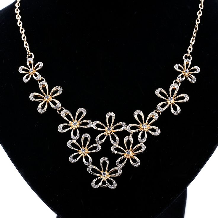 Find More Chain Necklaces Information about 2017 NEW Flower Necklace Gold Plated Chain Choker Statement Necklaces Pendants Rhinestone Bib Collar collier ras du cou femme,High Quality bib brace,China pendant flower Suppliers, Cheap pendant snake from Yiwu zenper accessories crafts co.,ltd  on Aliexpress.com