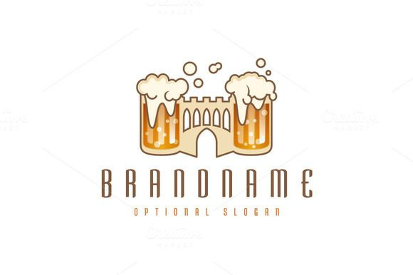 For sale. Only $29 - brown, castle, bubble, gate, illustration, drink, beverage, glass, medieval, tower, alcohol, fortress, barley, beer, pub, wall, brew, foam, jar, fort, brewery, watchtower, malt, jug, overflowing, restaurant, bar, king, kingdom, tavern, logo, design, template,