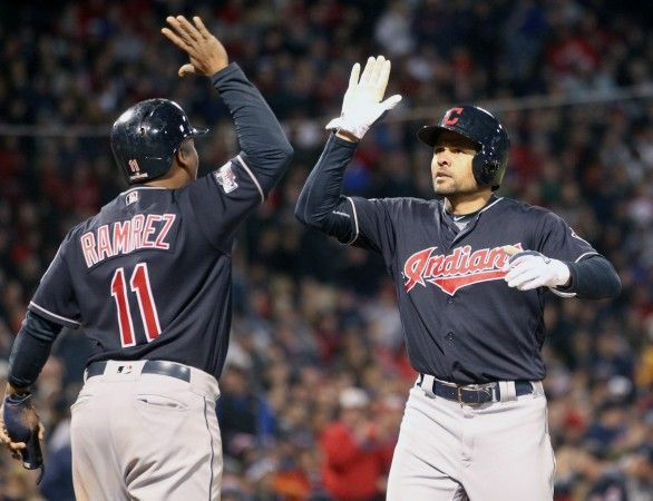 Cleveland Indians left fielder Coco Crisp (4) celebrates his two run home run in the 6th inning with Cleveland Indians third baseman Jose Ramirez (11) in the ALDS  playoff game #three between the Cleveland Indians and the Boston Red Sox played in Boston on Monday, Oct. 10, 2016. (Chuck Crow/The Plain Dealer)