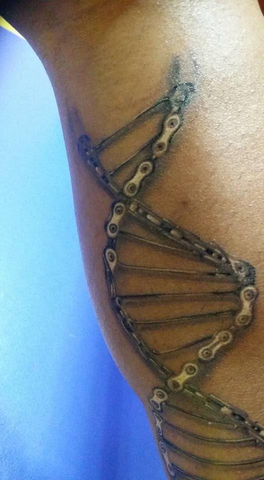 Cycology Gear's DNA design tattooed. Photo: David Palmeiro