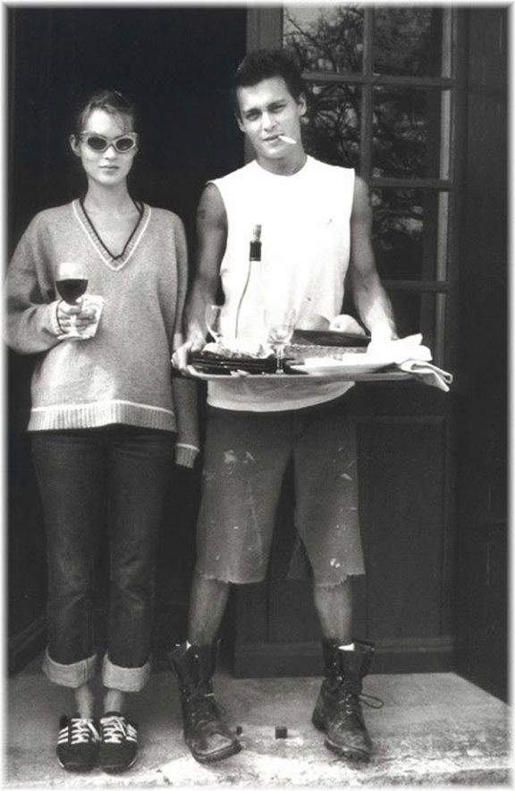Wine lovers. Kate Moss and Johnny Depp.