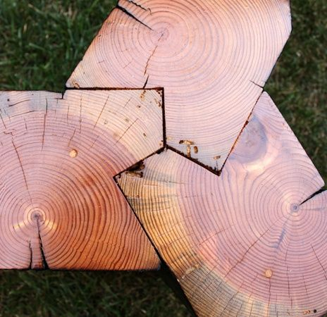 wood joint. Cool idea for a table by a burnpit perhaps..