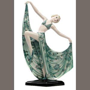 A Goldscheider art deco dancing girl figure, designed by Josef Lorenzl Circa 1925