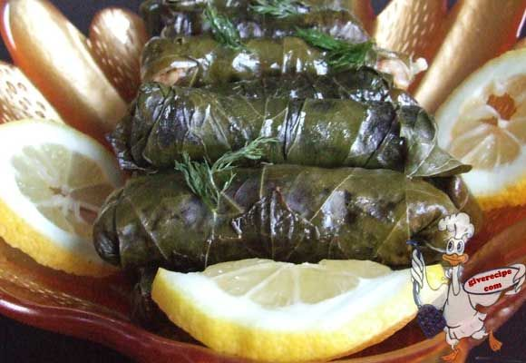 Rice stuffed grape leaves with step by step pictures. | giverecipe.com | #grapeleaves #appetizer #middleeast