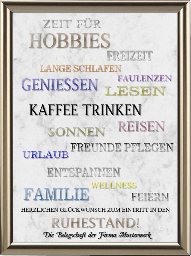 Rentnerurkunde - Zeit für | Rente | Urkunden-Shop24