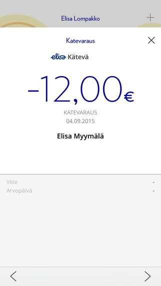 Elisa Wallet - Renewal: Receipt view (iOS)