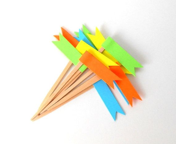 Cupcake Toppers 12 Neon Flags  Orange Blue Yellow by LBCpaper, $10.00