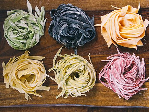 "Fresh Homemade Pasta (Using What You Already Have in the Kitchen) ""clockwise from top left: spinach pasta, squid ink pasta, carrot pasta, beet pasta, parsley pasta, and egg pasta."""