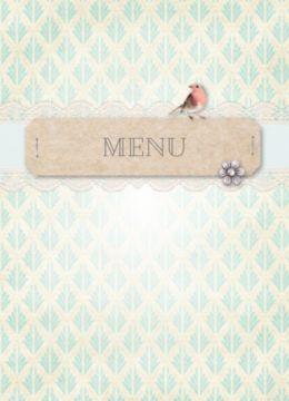 Enkele menukaart met vintage achtergrond en bruin label met 'MENU' erop. Kanten strook eronder met diamanten bloemetje en een roodborstje.