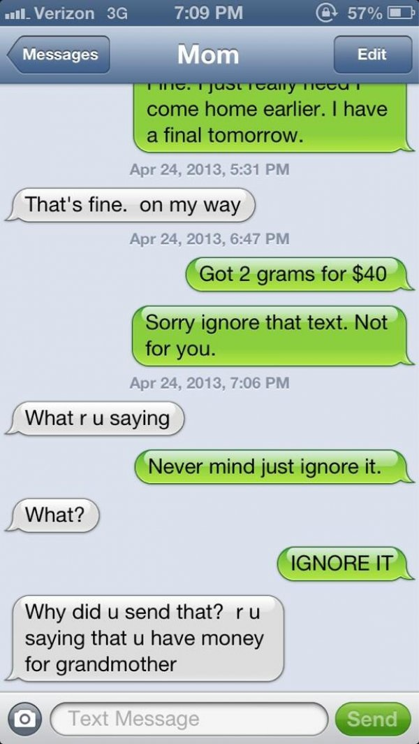 """Twitter Prank: Text Your Parents """"got 2 grams for $40"""" and See How they Respond"""