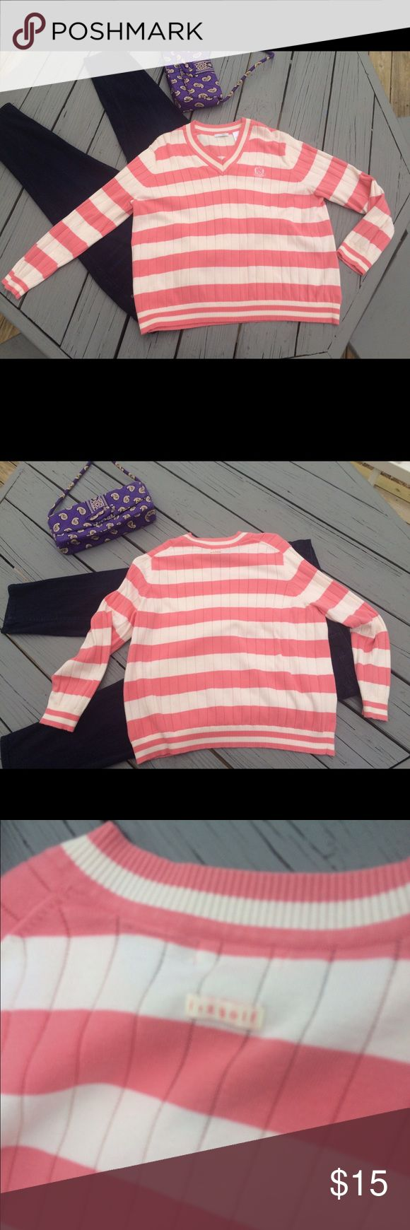 "Liz golf 2 XL stripe V Neck sweater salmon  ivory Liz golf 2 XL stripe V Neck sweater salmon ivory.  24"" chest 24"" Length Excellent condition non smoking home. Liz Claiborne Sweaters V-Necks"