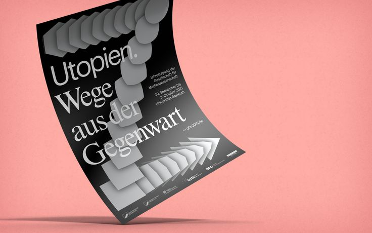 "Poster and programme leaflet for the 2015 conference of the ""Gesellschaft für Medienwissenschaft"" (German Society for Media Studies) held in Bayreuth. (© Hagen Verleger) #Poster #Utopia #Bayreuth #Silver #Black"