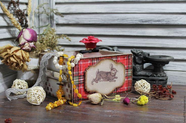 """Купить Короб для мелочей """"Шотландский кролик"""" - бордовый, ручная работа, ручная работа handmade"""