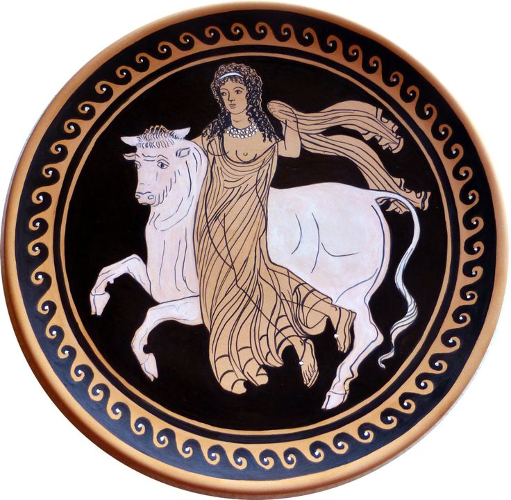 Decorative plate, ancient Grece style. Europe kidnapped by the Bull. Handpainted…