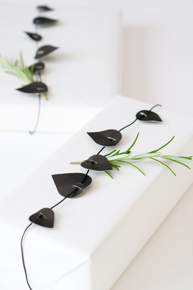 TWIG - black pre-punched paper leaves - for making wreaths, garlands & lovely gift decoration