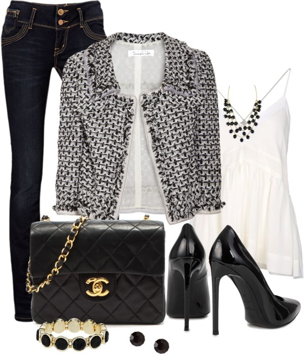 """""""Black and White Blazer"""" by averbeek ❤ liked on Polyvore"""