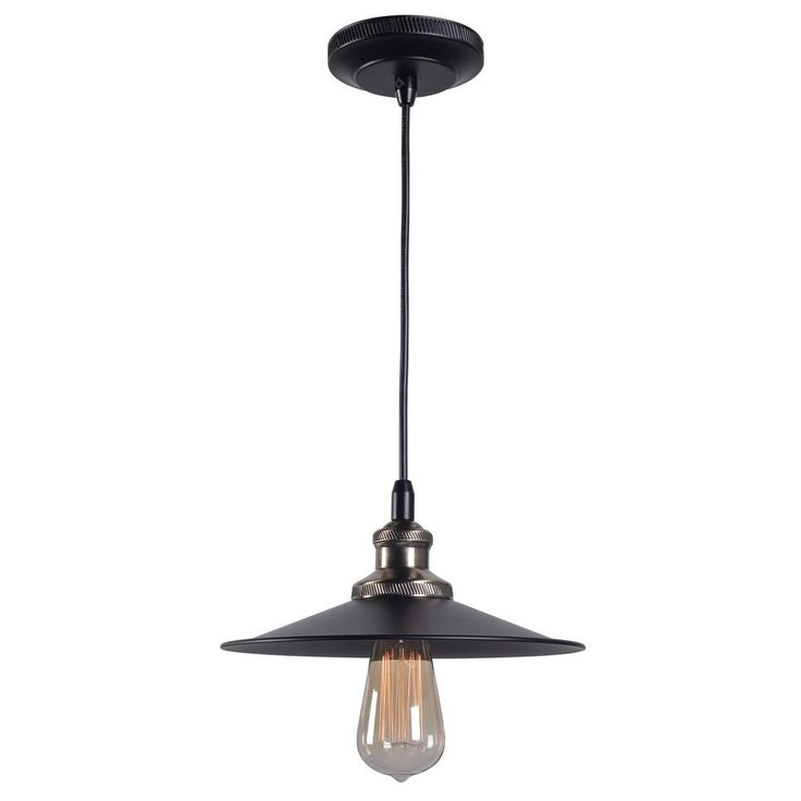 Kenroy Home Lighting Kenroy Home Ancestry Black and Antique Bronze Pendant Light with Coolie Shade 93370BL