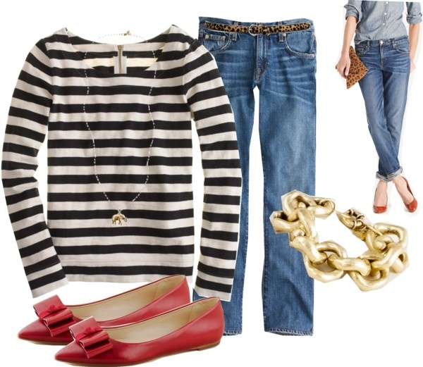 .: Jeans Bracelets, Red Leopards, Shirts Jeans, Red Jeans, Red Flats, Red Shoes, Cute Flats, Boyfriends Jeans, Fall Fashion