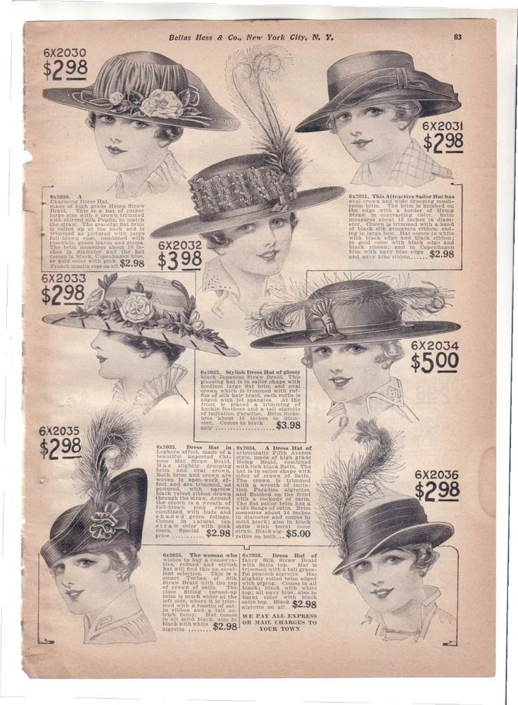 Vintage Ad 1916-1918 Hats Bella Hess Catalog Page (Image1)