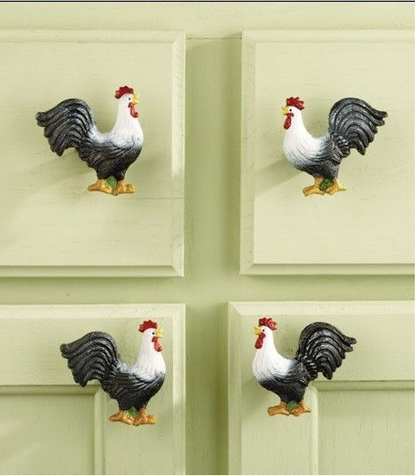 Set Of 10 Country Rooster Chicken Cabinet Drawer Knob