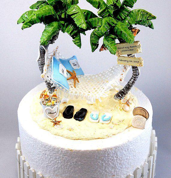 6 Artisan Handmade Beach Wedding Cake Topper Your Colors Personalized Honeymoon Hammock Base Beach Wedding Cake Toppers Beach Wedding Cake Wedding Cake Toppers