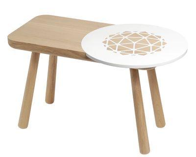 Table basse Les Biches / Round - 70 x 40 cm Bois naturel / Blanc - Y'a pas le feu au lac - Décoration et mobilier design avec Made in Design